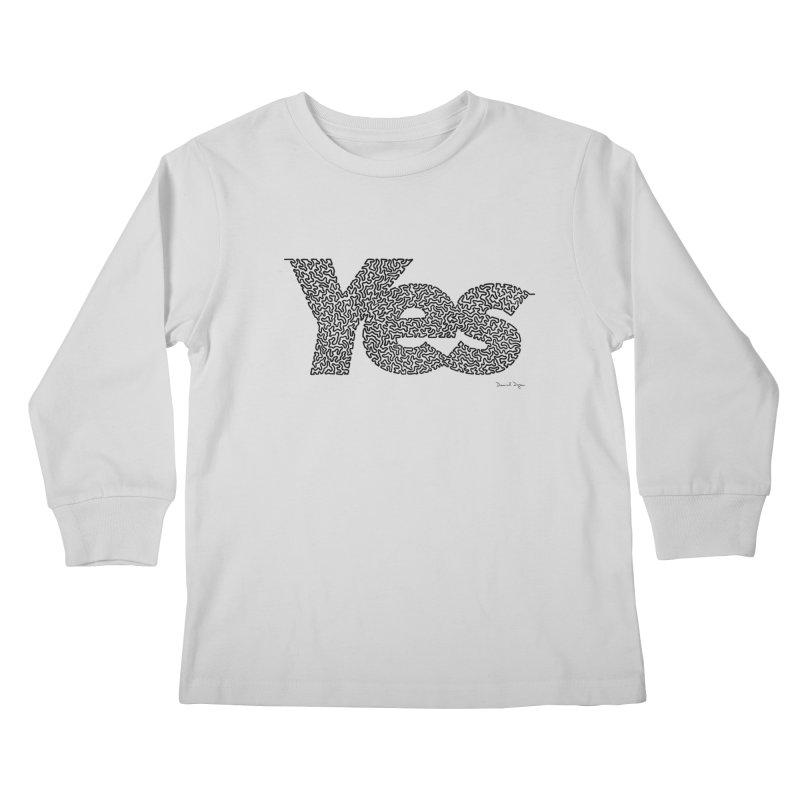 Yes (Black) - One Continuous Line Kids Longsleeve T-Shirt by Daniel Dugan's Artist Shop
