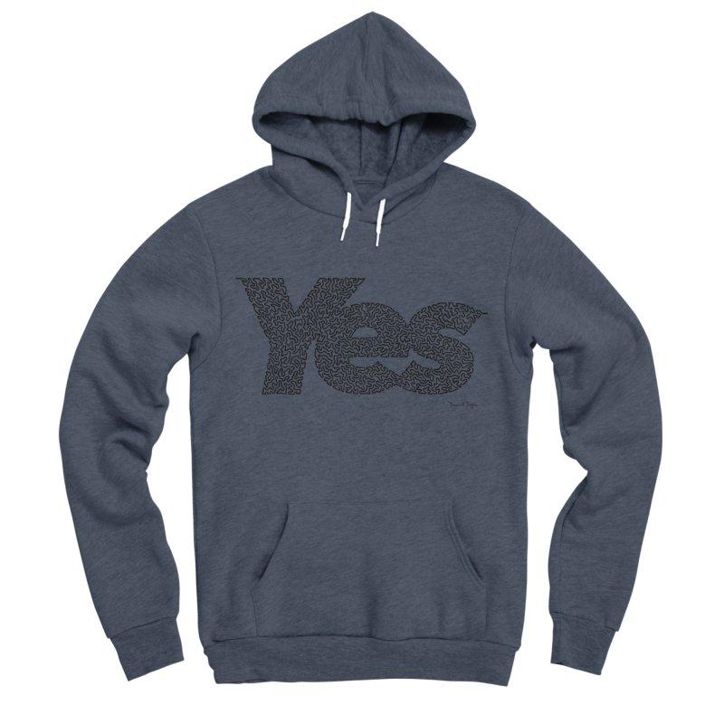 Yes (Black) - Multiple Colors + 40 Other Products Men's Sponge Fleece Pullover Hoody by Daniel Dugan's Artist Shop