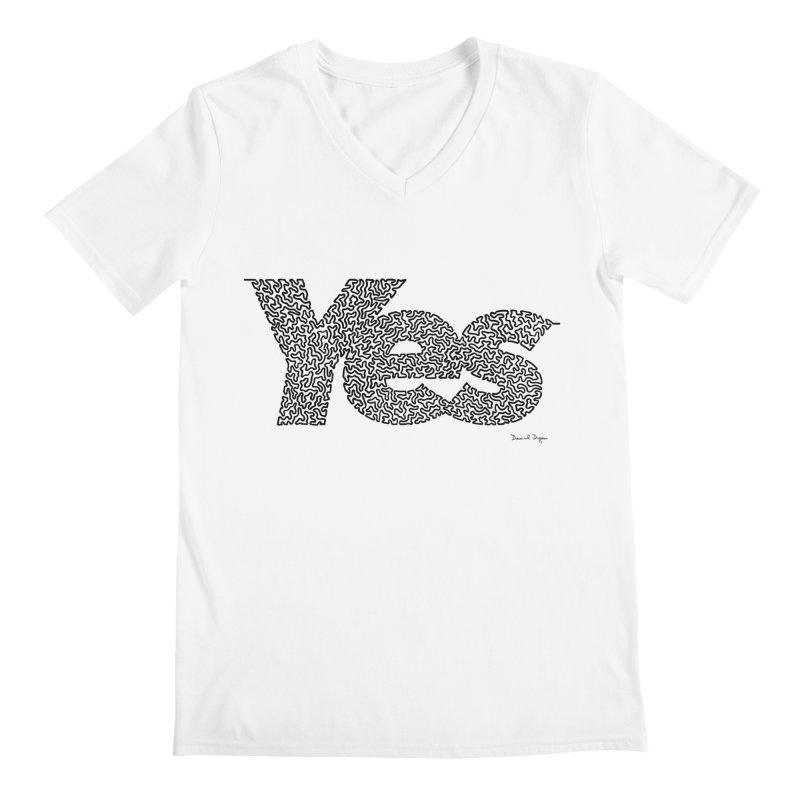 Yes (Black) - Multiple Colors + 40 Other Products Men's V-Neck by Daniel Dugan's Artist Shop