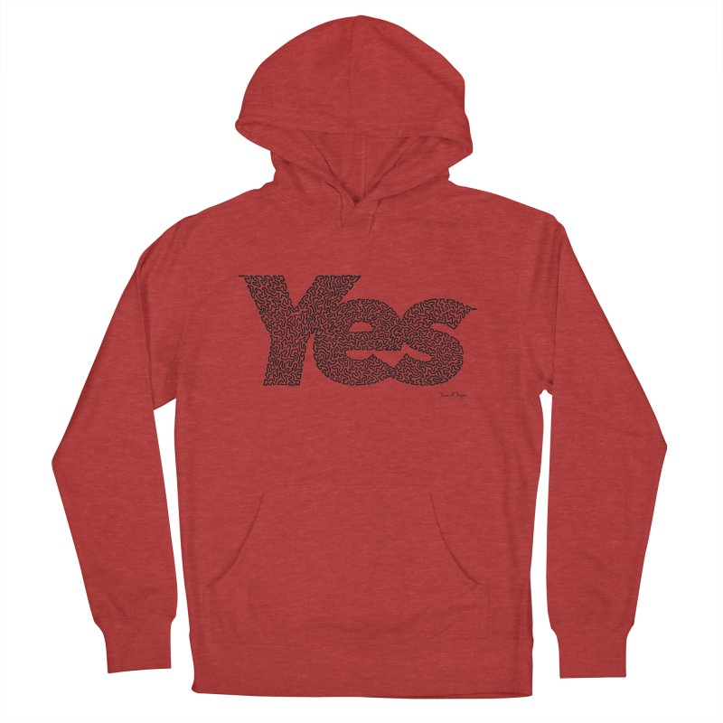 Yes (Black) - Multiple Colors + 40 Other Products Men's French Terry Pullover Hoody by Daniel Dugan's Artist Shop