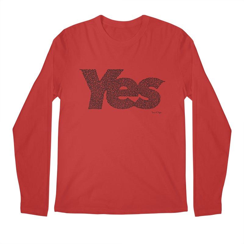 Yes (Black) - Multiple Colors + 40 Other Products Men's Regular Longsleeve T-Shirt by Daniel Dugan's Artist Shop