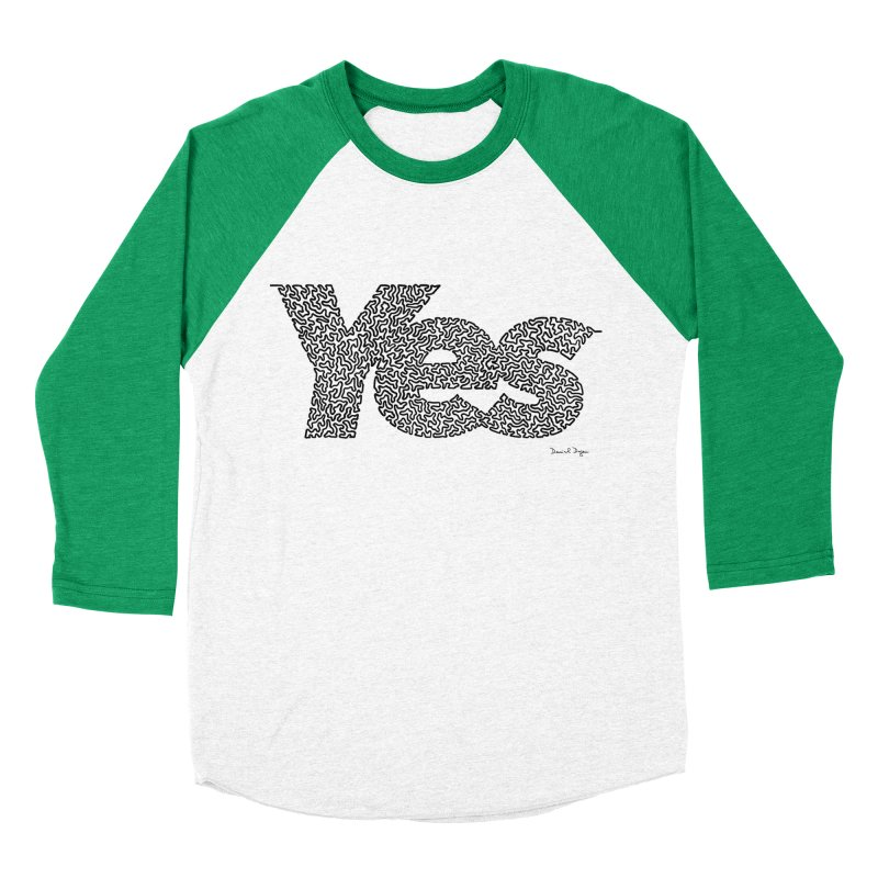 Yes (Black) - Multiple Colors + 40 Other Products Women's Baseball Triblend Longsleeve T-Shirt by Daniel Dugan's Artist Shop