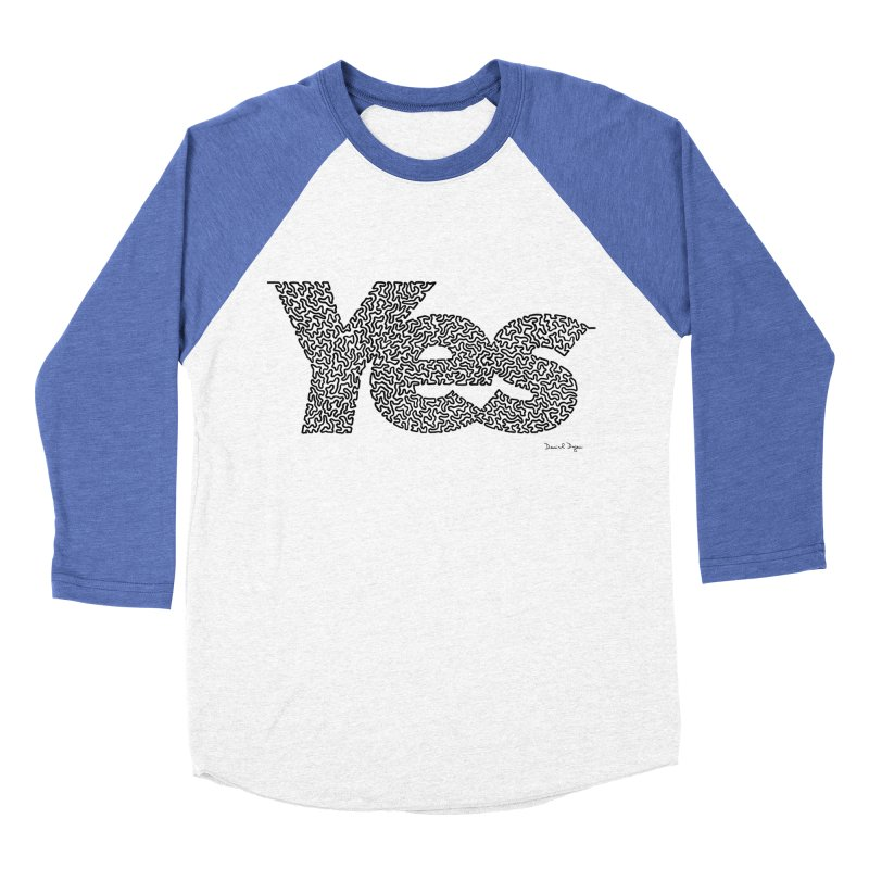 Yes (Black) - Multiple Colors + 40 Other Products Men's Baseball Triblend Longsleeve T-Shirt by Daniel Dugan's Artist Shop