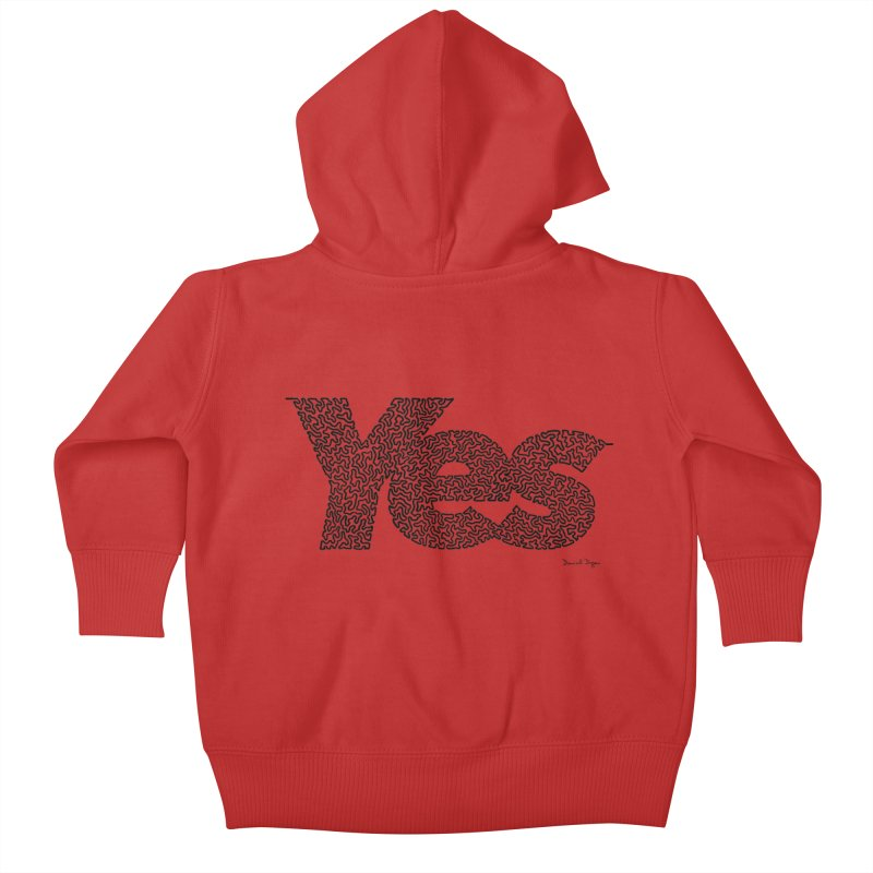 Yes (Black) - Multiple Colors + 40 Other Products Kids Baby Zip-Up Hoody by Daniel Dugan's Artist Shop