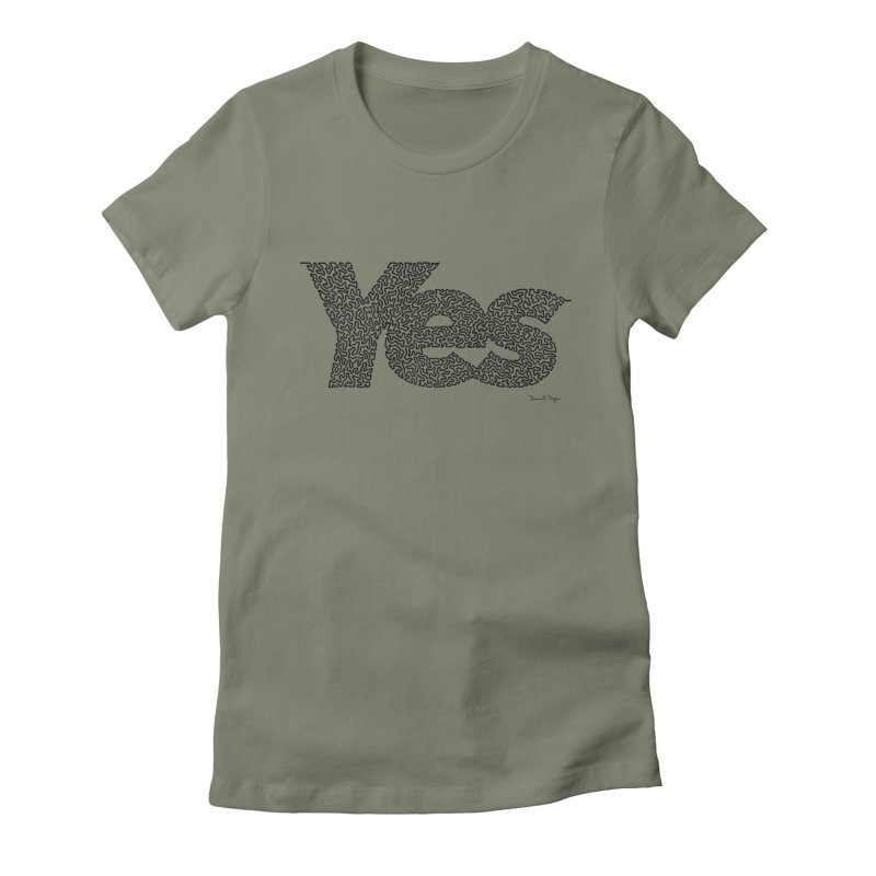 Yes (Black) - Multiple Colors + 40 Other Products Women's Fitted T-Shirt by Daniel Dugan's Artist Shop