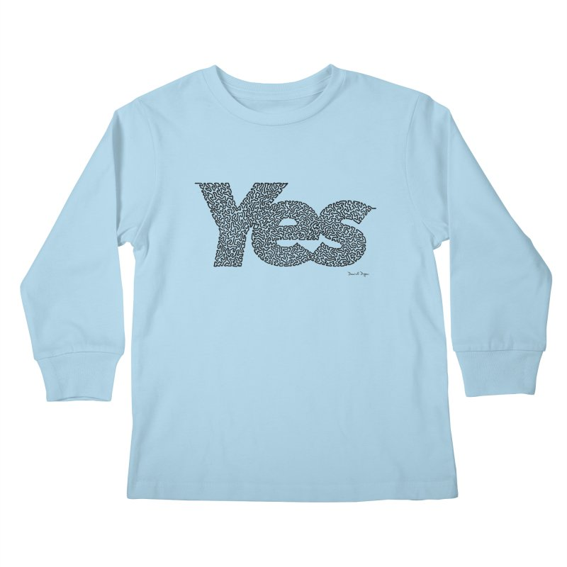 Yes (Black) - Multiple Colors + 40 Other Products Kids Longsleeve T-Shirt by Daniel Dugan's Artist Shop