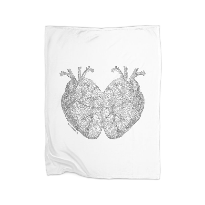 Heart to Heart - One Continuous Line Home Fleece Blanket Blanket by Daniel Dugan's Artist Shop
