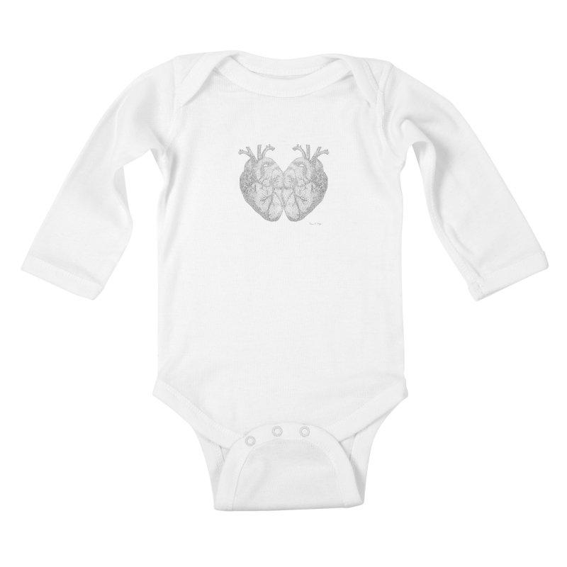Heart to Heart Kids Baby Longsleeve Bodysuit by Daniel Dugan's Artist Shop