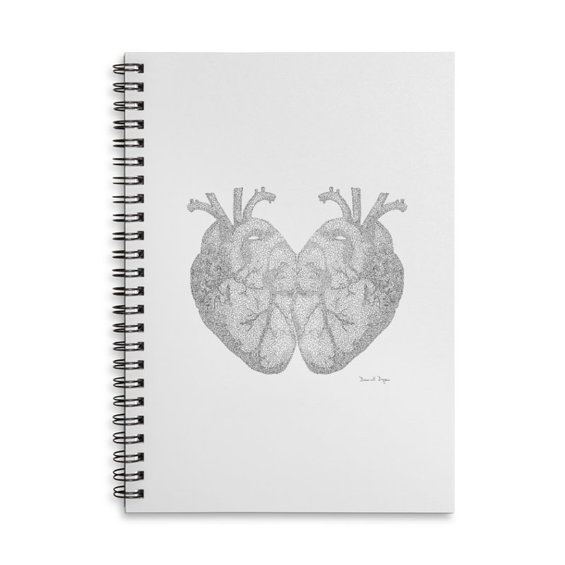 Heart to Heart Accessories Lined Spiral Notebook by Daniel Dugan's Artist Shop