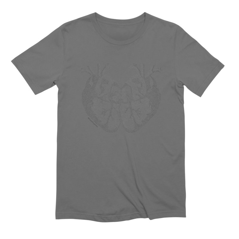 Heart to Heart - One Continuous Line Men's T-Shirt by Daniel Dugan's Artist Shop