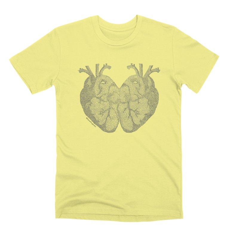 Heart to Heart - One Continuous Line Men's Premium T-Shirt by Daniel Dugan's Artist Shop