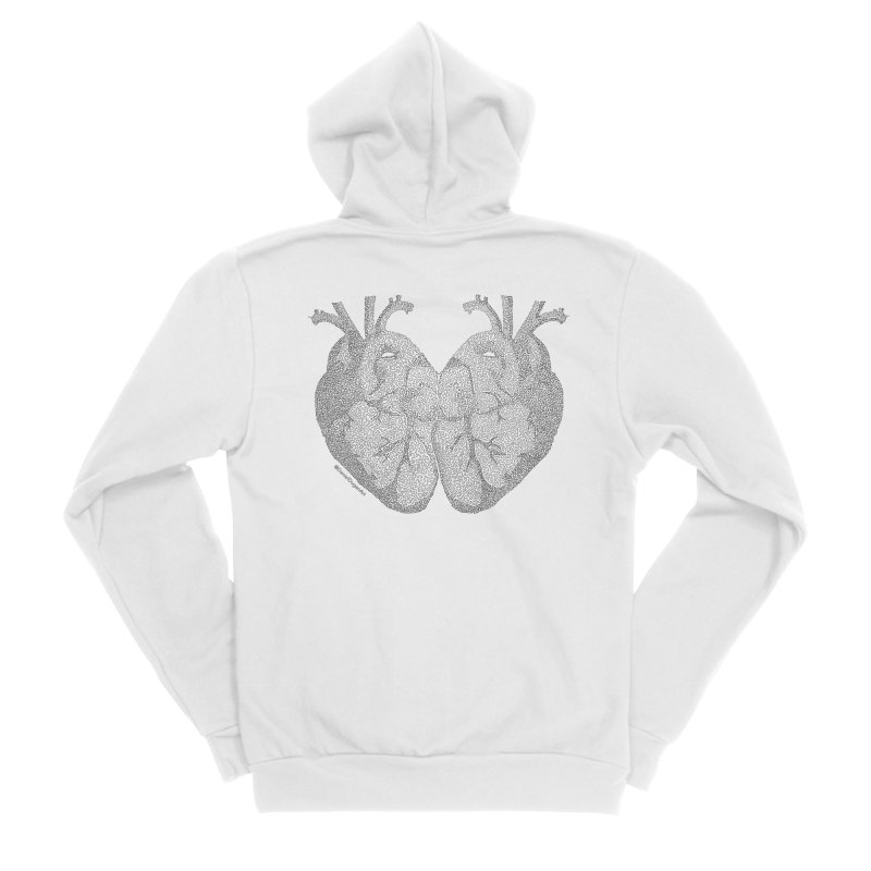Heart to Heart - One Continuous Line Men's Sponge Fleece Zip-Up Hoody by Daniel Dugan's Artist Shop