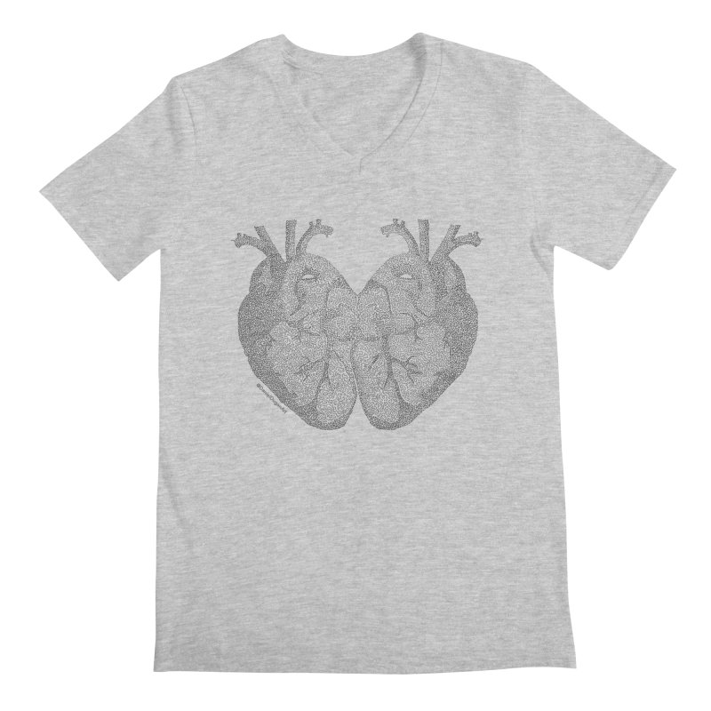 Heart to Heart - One Continuous Line Men's V-Neck by Daniel Dugan's Artist Shop