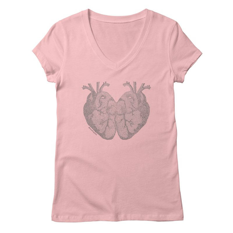 Heart to Heart - One Continuous Line Women's Regular V-Neck by Daniel Dugan's Artist Shop