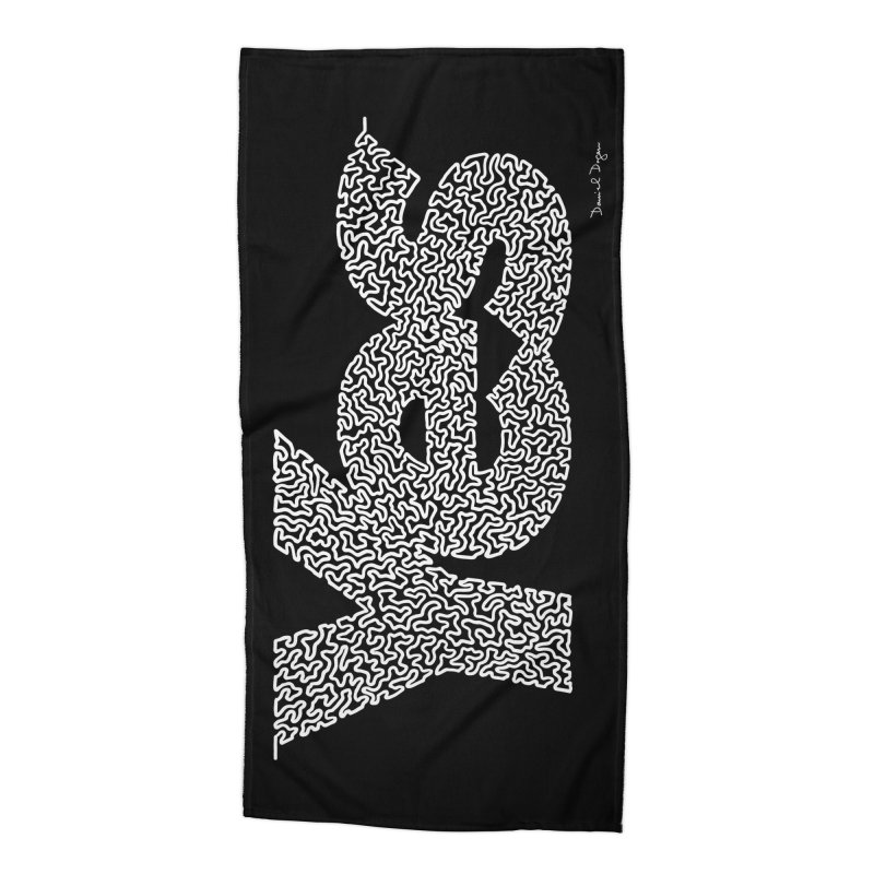 Yes (White) - One Continuous Line Accessories Beach Towel by Daniel Dugan's Artist Shop
