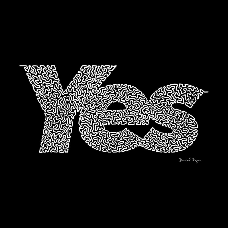 Yes (White) - One Continuous Line None  by Daniel Dugan's Artist Shop