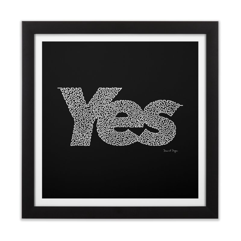 Yes (White) - One Continuous Line Home Framed Fine Art Print by Daniel Dugan's Artist Shop