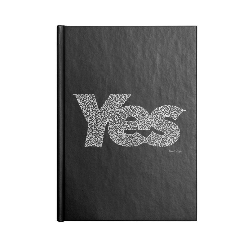 Yes (White) - One Continuous Line Accessories Notebook by Daniel Dugan's Artist Shop