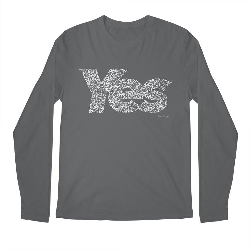 Yes (White) - One Continuous Line Men's Longsleeve T-Shirt by Daniel Dugan's Artist Shop