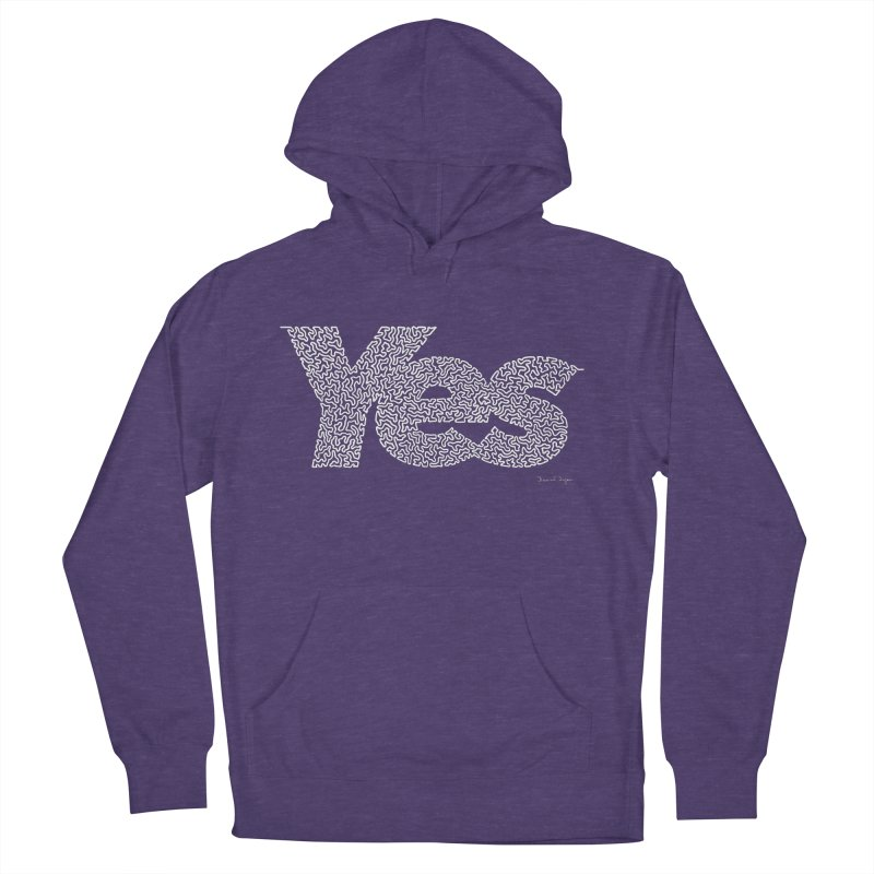 Yes (White) - One Continuous Line Men's Pullover Hoody by Daniel Dugan's Artist Shop
