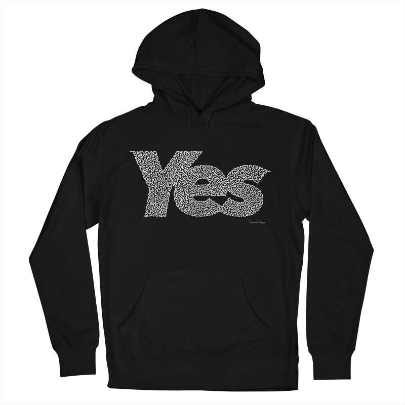 Yes (White) - One Continuous Line Men's French Terry Pullover Hoody by Daniel Dugan's Artist Shop