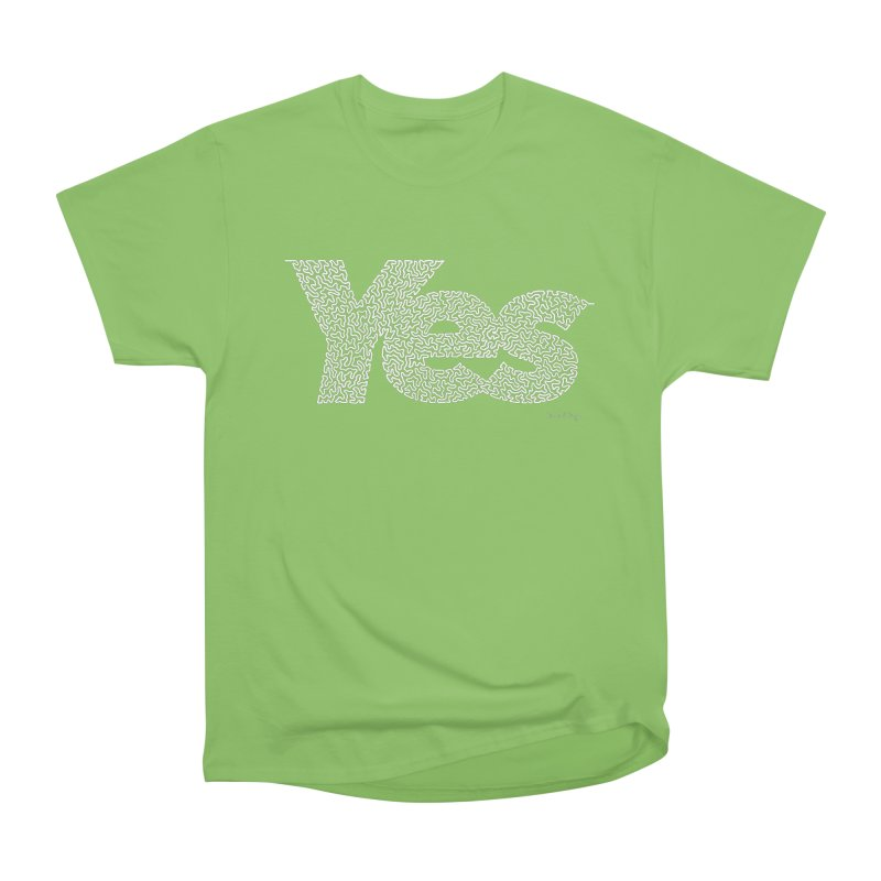 Yes (White) - One Continuous Line Women's Heavyweight Unisex T-Shirt by Daniel Dugan's Artist Shop