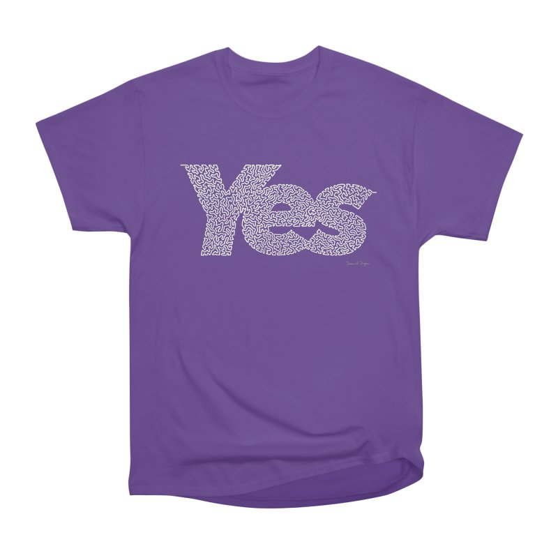 Yes (White) - One Continuous Line Men's Heavyweight T-Shirt by Daniel Dugan's Artist Shop