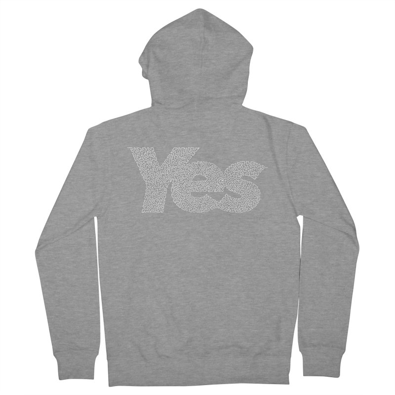 Yes (White) - One Continuous Line Women's French Terry Zip-Up Hoody by Daniel Dugan's Artist Shop