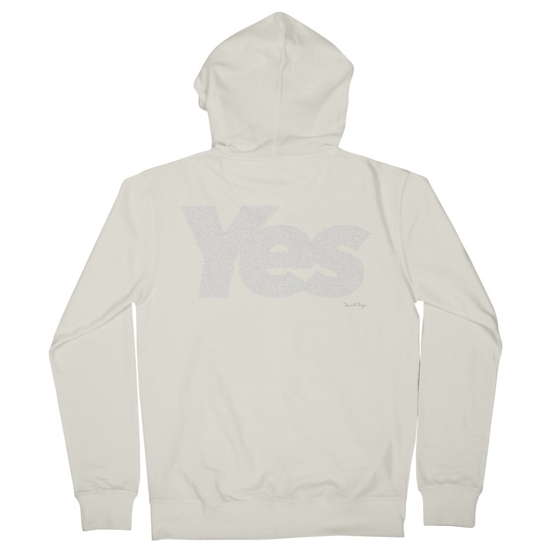 Yes (White) - One Continuous Line Women's Zip-Up Hoody by Daniel Dugan's Artist Shop
