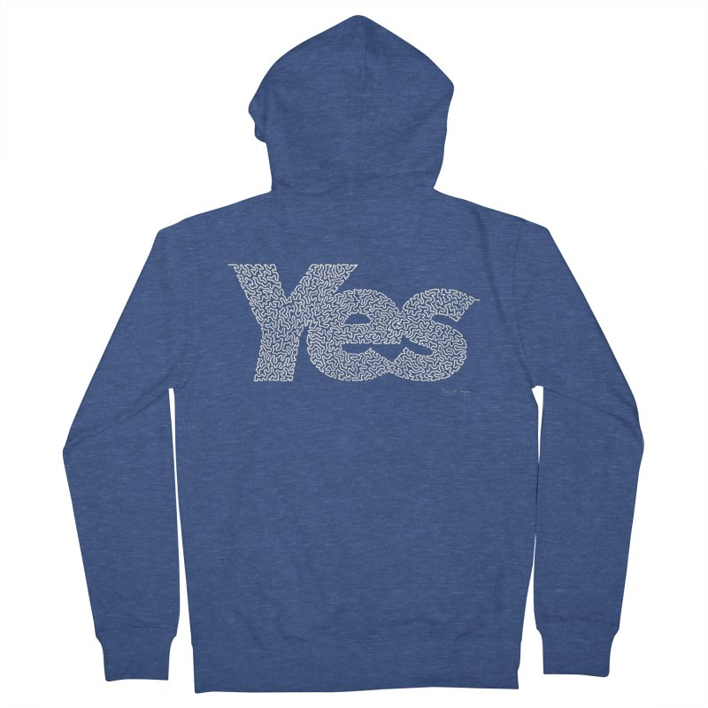 Yes (White) - One Continuous Line Men's French Terry Zip-Up Hoody by Daniel Dugan's Artist Shop