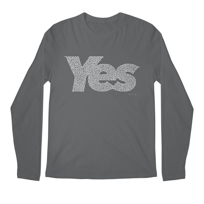 Yes (White) - One Continuous Line Men's Regular Longsleeve T-Shirt by Daniel Dugan's Artist Shop