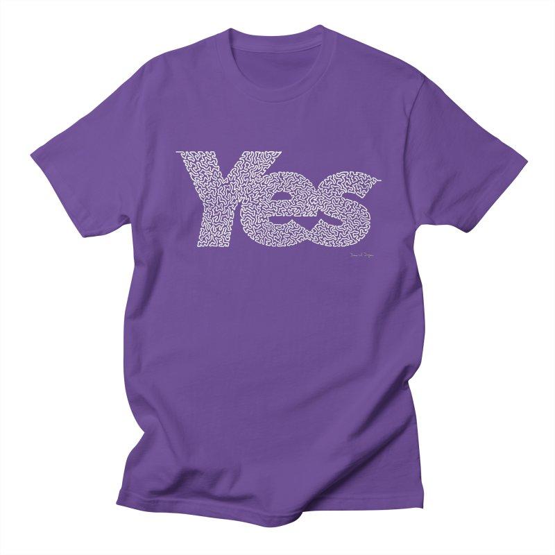 Yes (White) - One Continuous Line Women's Regular Unisex T-Shirt by Daniel Dugan's Artist Shop
