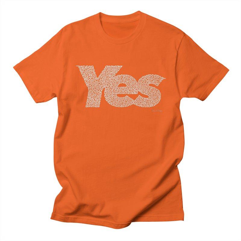 Yes (White) - One Continuous Line Men's Regular T-Shirt by Daniel Dugan's Artist Shop