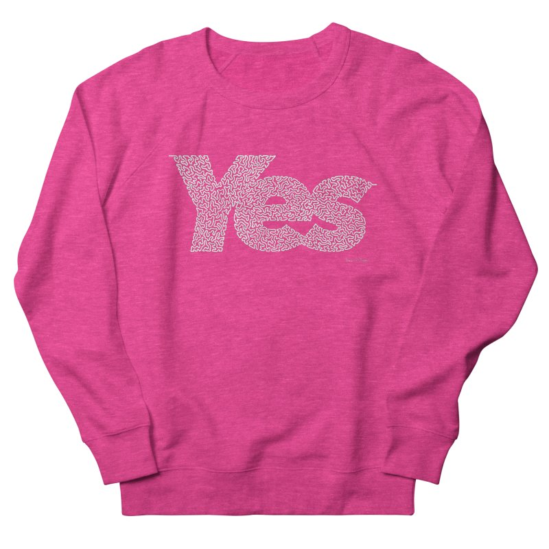 Yes (White) - One Continuous Line Women's French Terry Sweatshirt by Daniel Dugan's Artist Shop