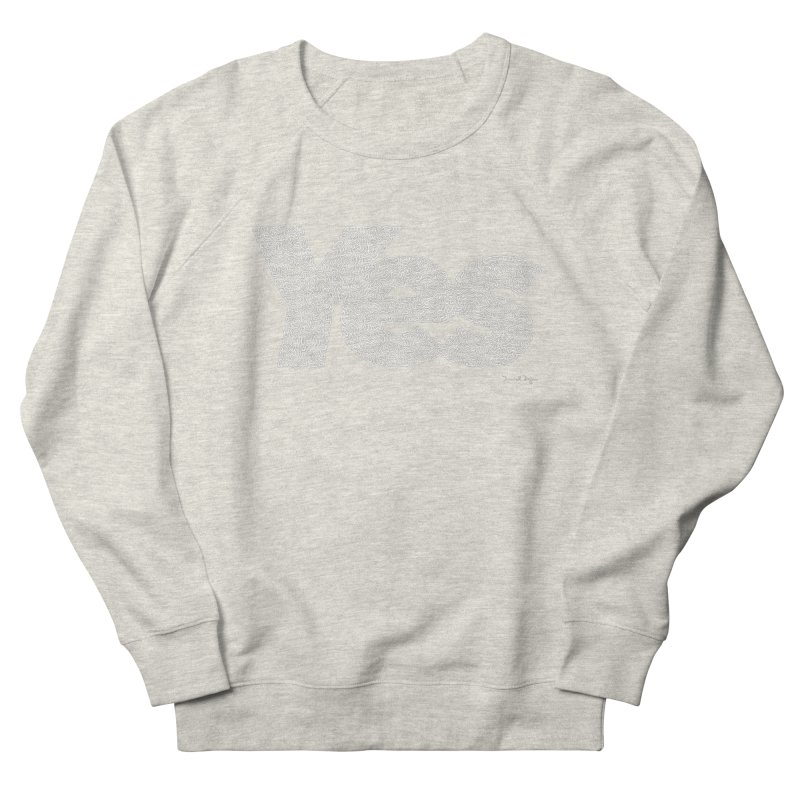 Yes (White) - One Continuous Line Men's French Terry Sweatshirt by Daniel Dugan's Artist Shop