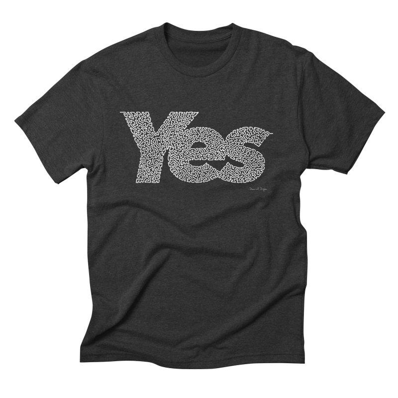 Yes (White) - One Continuous Line Men's Triblend T-Shirt by Daniel Dugan's Artist Shop