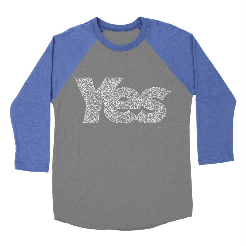 Yes (White) - One Continuous Line Women's Baseball Triblend T-Shirt by Daniel Dugan's Artist Shop