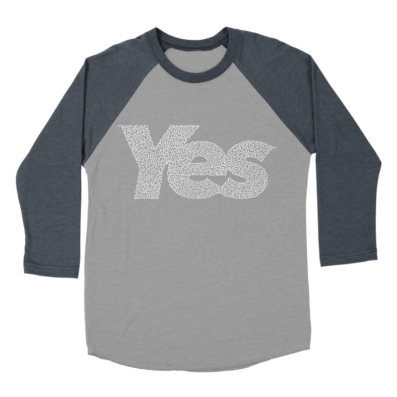 Yes (White) - One Continuous Line Men's Baseball Triblend T-Shirt by Daniel Dugan's Artist Shop