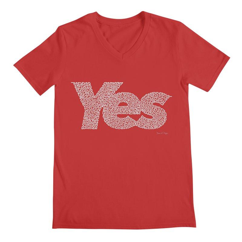 Yes (White) - One Continuous Line Men's Regular V-Neck by Daniel Dugan's Artist Shop