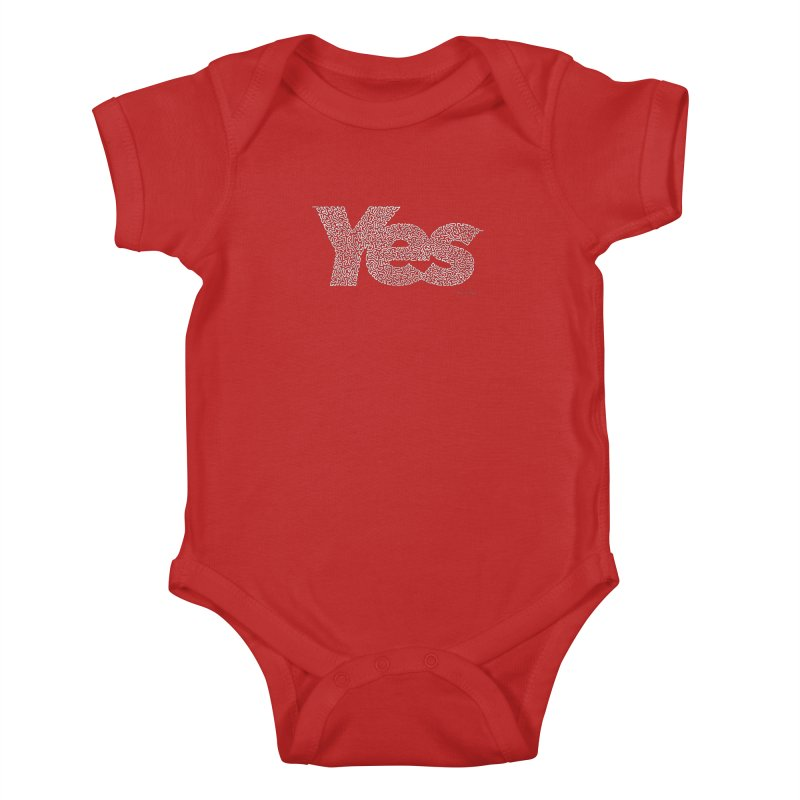 Yes (White) - One Continuous Line Kids Baby Bodysuit by Daniel Dugan's Artist Shop