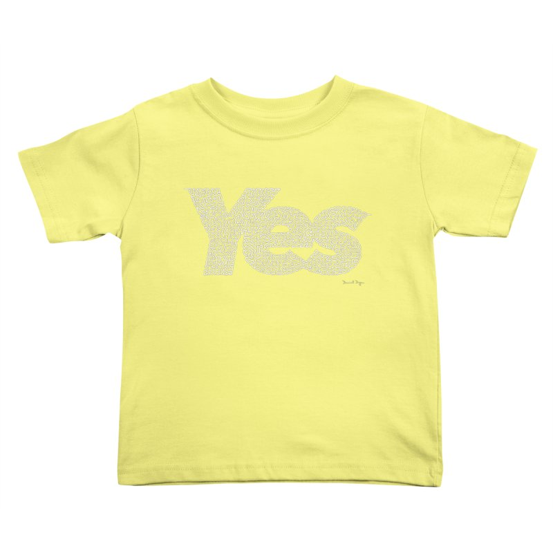 Yes (White) - One Continuous Line Kids Toddler T-Shirt by Daniel Dugan's Artist Shop