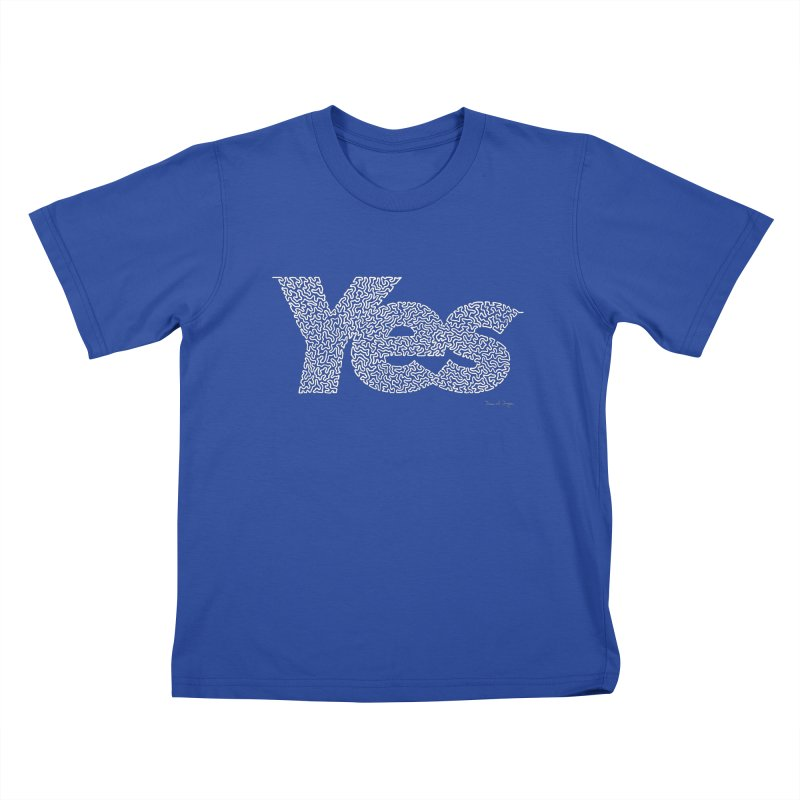 Yes (White) - One Continuous Line Kids T-Shirt by Daniel Dugan's Artist Shop