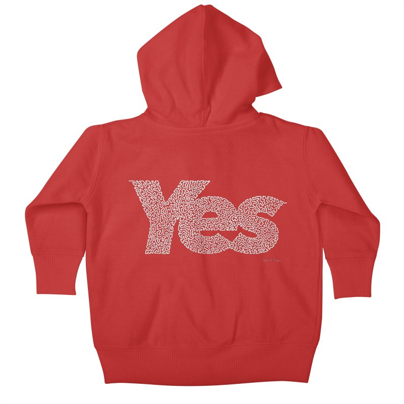 Yes (White) - One Continuous Line Kids Baby Zip-Up Hoody by Daniel Dugan's Artist Shop