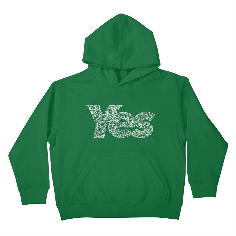Yes (White) - One Continuous Line Kids Pullover Hoody by Daniel Dugan's Artist Shop