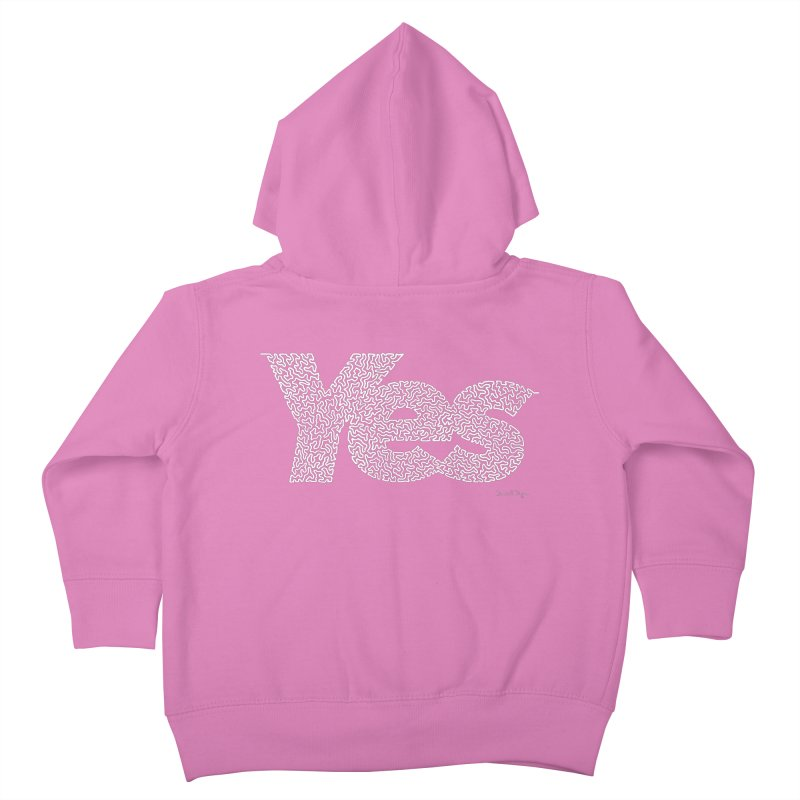 Yes (White) - One Continuous Line Kids Toddler Zip-Up Hoody by Daniel Dugan's Artist Shop