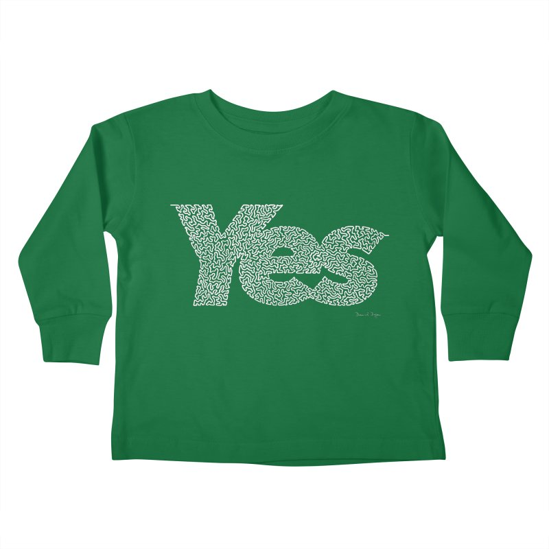 Yes (White) - One Continuous Line Kids Toddler Longsleeve T-Shirt by Daniel Dugan's Artist Shop