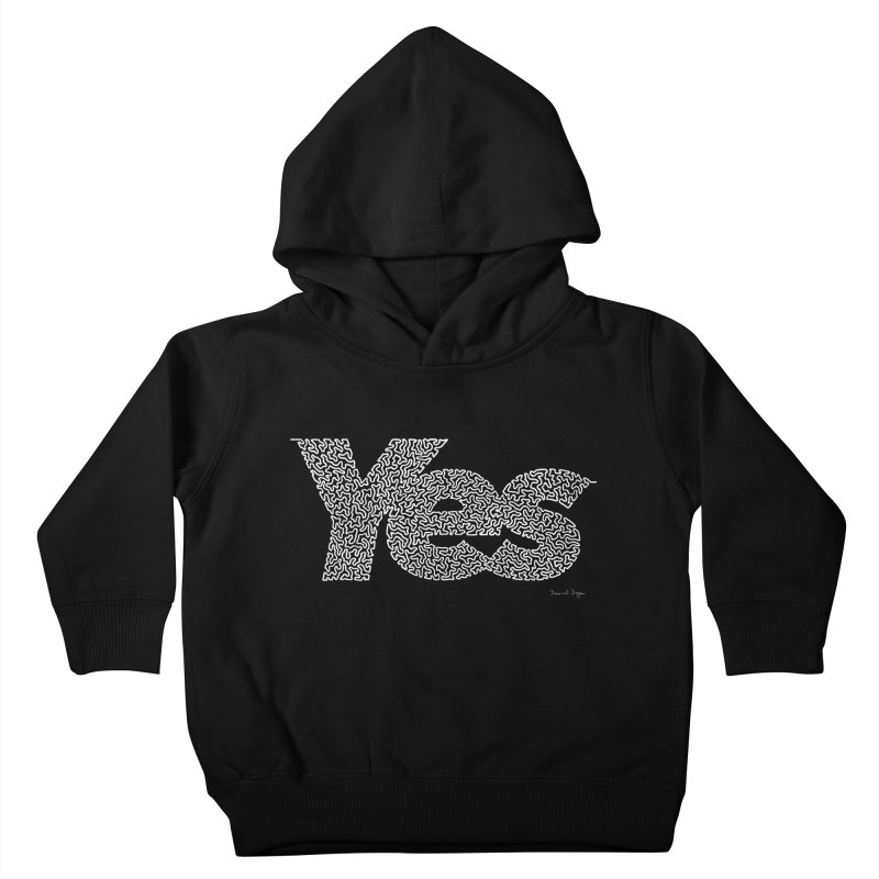 Yes (White) - One Continuous Line Kids Toddler Pullover Hoody by Daniel Dugan's Artist Shop