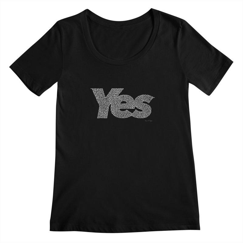 Yes (White) - One Continuous Line Women's Scoopneck by Daniel Dugan's Artist Shop
