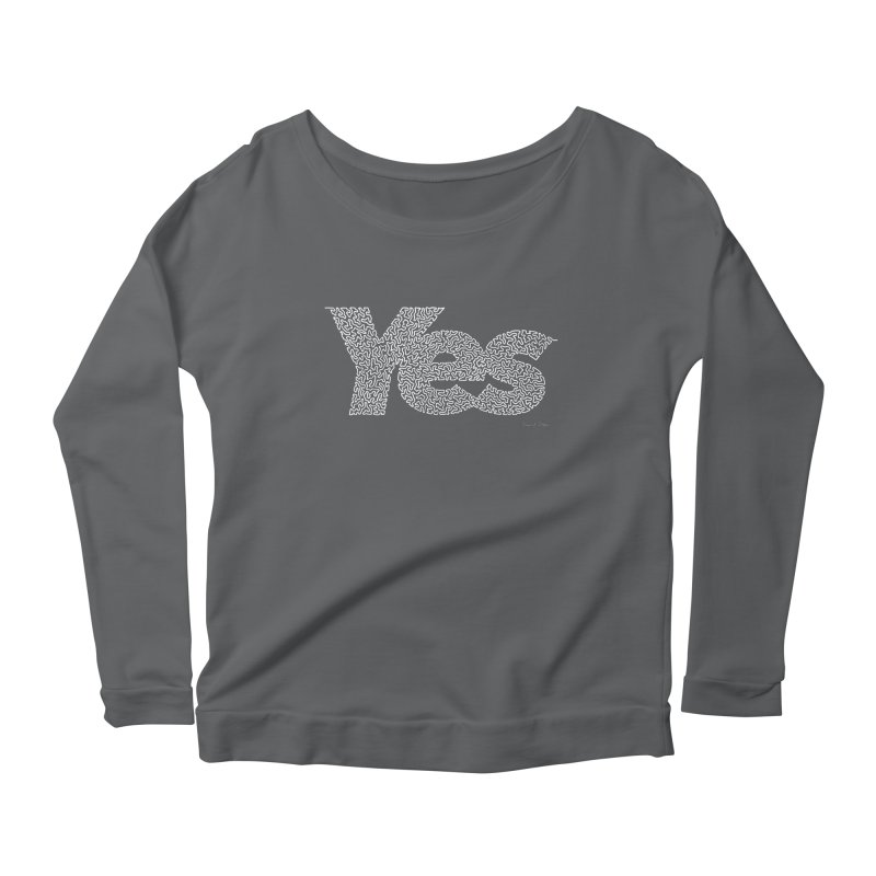 Yes (White) - One Continuous Line Women's Scoop Neck Longsleeve T-Shirt by Daniel Dugan's Artist Shop