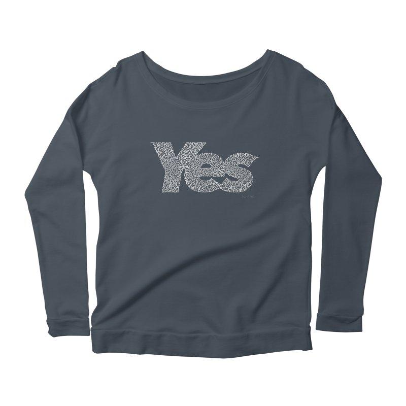 Yes (White) - One Continuous Line Women's Longsleeve Scoopneck  by Daniel Dugan's Artist Shop